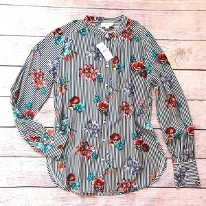 LOFT Striped and Floral Button Down